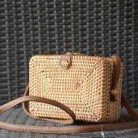 Little handmade rattan bag style briefcase - colour : straw