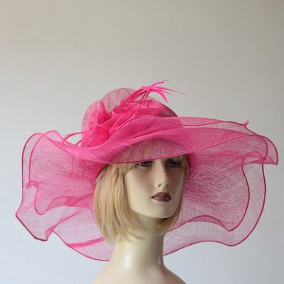 Wide-brimmed wedding hat - double fuchsia sinamay