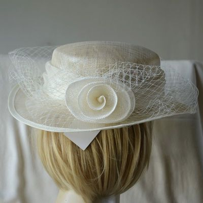 Wedding hat - ivory sinamay with veil