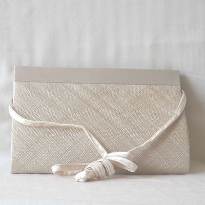Wedding, evening bag/ clutch - beige sinamay and satin