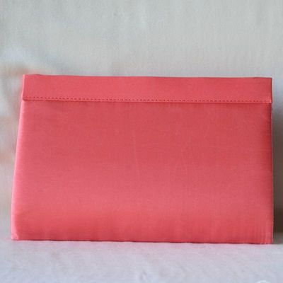 Wedding bag, evening clutch - pink coral or beige champagne sinamay and satin
