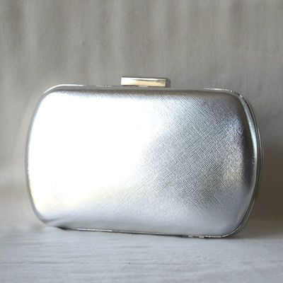 Evening bag, wedding clutch, silver or powder pink