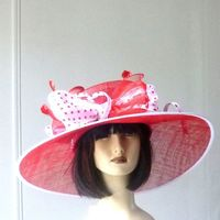Large wedding hat - white and red
