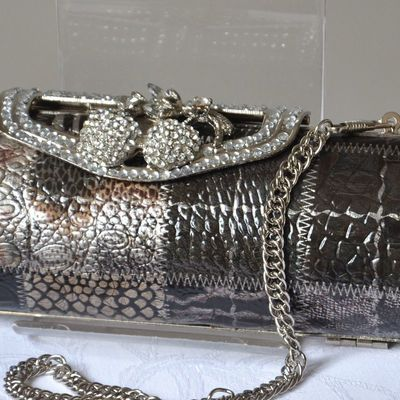 Evening bag imitation crocodile - with rhinestone - cylindric