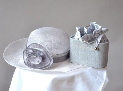 Matching wedding hat with clutch - grey sinamay