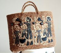 Tote bag - hand woven, hand embroideries
