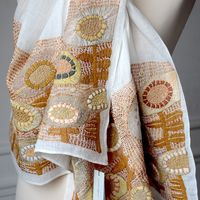 Sophie Digard - Large linen veil stole - Background off-white, hand embroideries