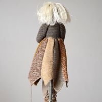 "Sophie Digard - Doll ""Fragon"" with baby - hand crocheted - merino wool and cotton"
