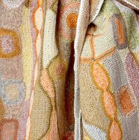 Sophie Digard creations - large linen scarf - all hand crocheted, ivory edge