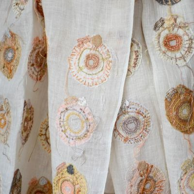 Large Sophie Digard stole - all linen - ivory background with coloured hand embroideries