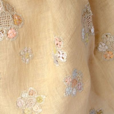 Sophie Digard large stole - camel coloured linen veil - Hand embroideries