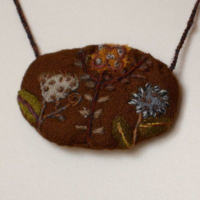 Hand embroidered Sophie Digard necklace - middle brown merino wool