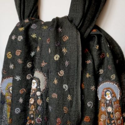 """Large stole """"Madonas"""" - Sophie Digard - merino wool veil - dark grey with rich embroideries"""