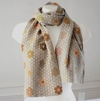 Sophie Digard creations. Long hand crocheted scarf - 100 % linen