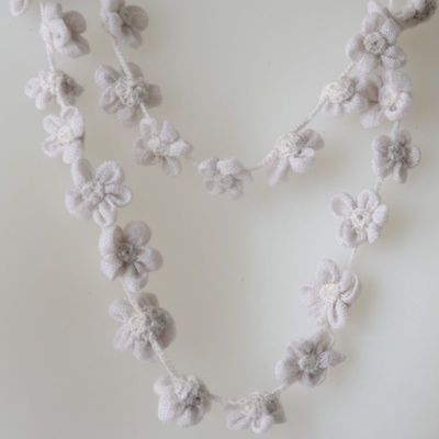 Long necklace - Sophie Digard creations - merino wool - light grey slightly lilac