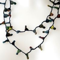 Sophie Digard necklace - merino wool - darker hues, grey, blue, red, yellow...