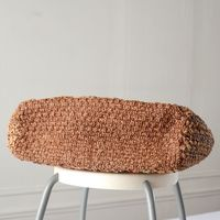 Sophie Digard creations - wide rectangular tote bag - macramé and crocheted raphia - orange, golden and sand hues