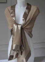 Silk mousseline and satin wedding, evening middle brown stole
