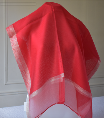 Very smart red and gold silk evening wrap for dressed up occasions (evenings, weddings, opera...)