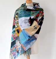 Large, long and warm shawl - double face - Klimt's portrait of Ria Munk