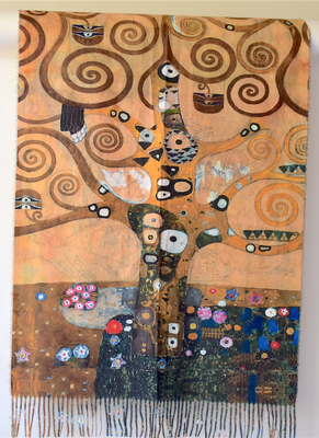 "Large double face wrap - ""tree of life"" and ""lady with fan"" - pictures of Klimt"