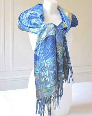 "Large double face wrap - wool and viscose - ""The starry night"" - Van Gogh"