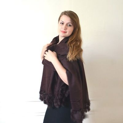 Large warm brown shawl - wool and cashmere and rabbit pompoms!
