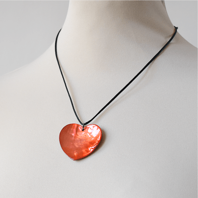 Necklace mother of pearl heart - different colours - can be adjusted to your neck
