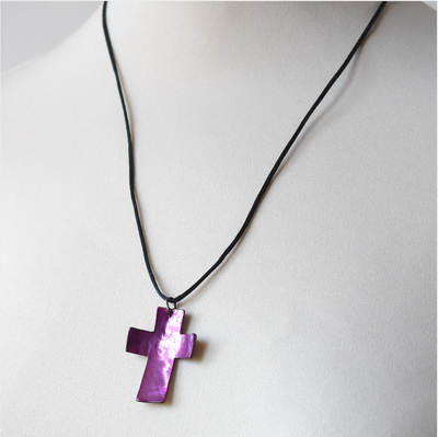 "Mother of pearl ""cross"" pendant - with black satin cordlet - 3 colours"