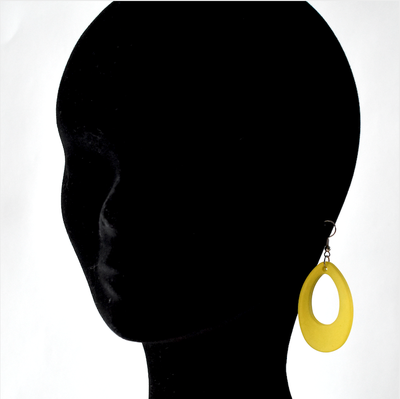Paire de boucles d'oreile en plexi  transparent givré -  jaune ou orange