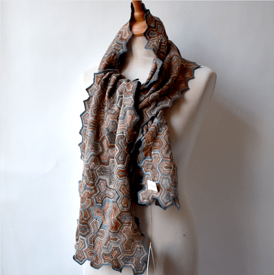 "Sophie Digard - Large scarf ""puzzle"" - 100 % merino wool - brown, cement, bordeaux, sky blue... hues"