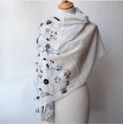 Sophie Digard - long and wide shawl- merino wool - light pearl grey - hand embroidered