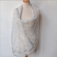 A beautiful wrap for evenings, weddings or parties - organza silk and viscose embroidered with sequins and bordered gold threads