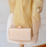 Golden matching stole and clutch for weddings, evenings