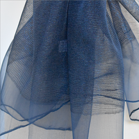 Long and large foulard - navy silk organza - for weddings, evenings