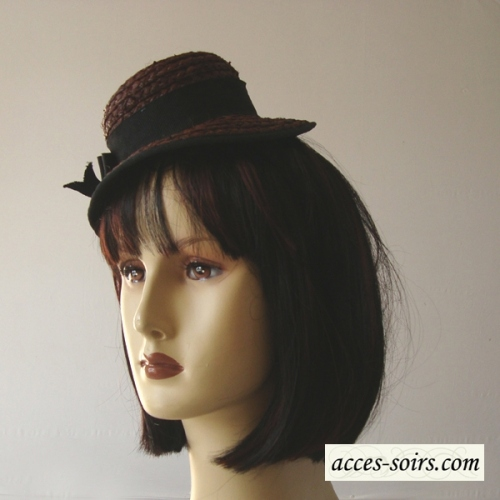 Mini dark brown straw hat