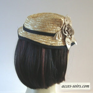 Little trilby hat on headband - natural beige straw