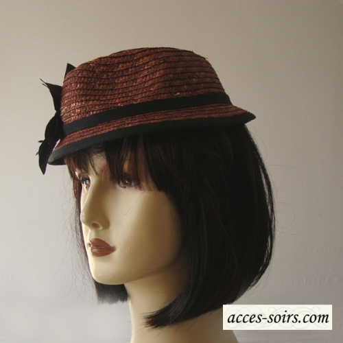 Little hat on headband - natural reddish brown straw