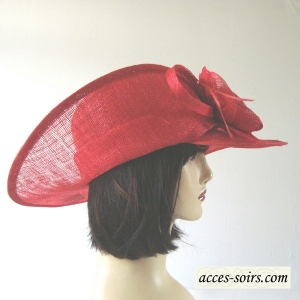 Red sinamay and satin assymetrical wedding hat