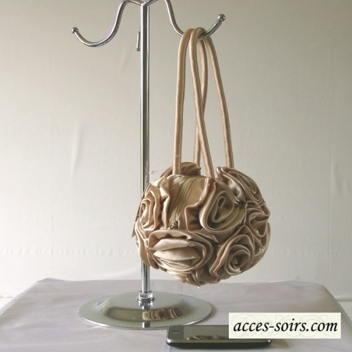 Golden beige round wedding bag