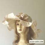 White, off-white or golden beige satin wedding hat