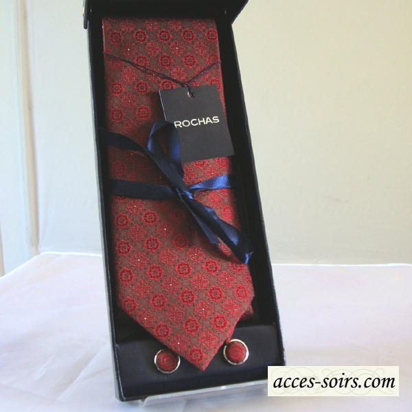 Silk tie by rochas with matching cuff links
