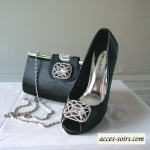 Black high satin evening shoes