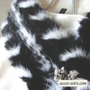 White and black mink collar