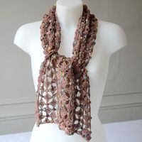 Long scarf dust pink Sophie Digard - 100 % linen -  hand-crocheted
