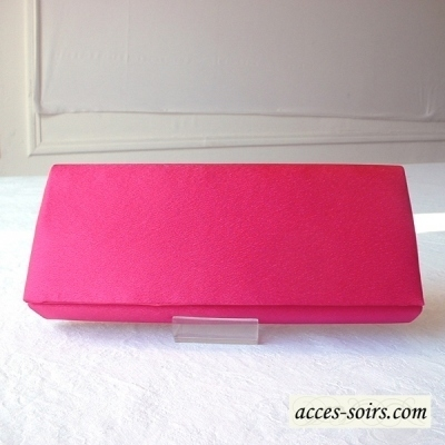 Evening fuchsia satin clutch