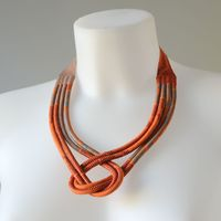 African wax necklace - twisted, orange and turquoise