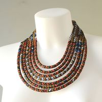 Superb african wax necklace - 7 rows