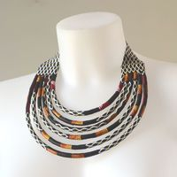 Collier en wax africain - 6 rangs