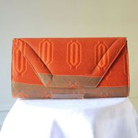 Grande pochette en wax - dominante orange